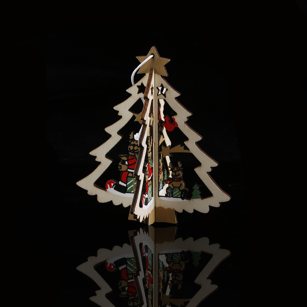 2pcsset 3styles 3d xmas tree pattern pendants hanging decoration wooden christmas decorations home party decor xmas tree decor in pendant drop ornaments