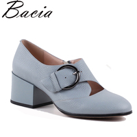 Bacia New Buckle Strap Heels Blue Pumps Front Hollow Butterfly Casual Footwear Genuine Leather Comfortable Mother