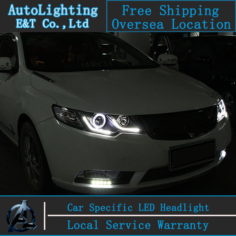 Car styling for kia forte headlights 2011 2014 forte led headlight cerato led drl projector