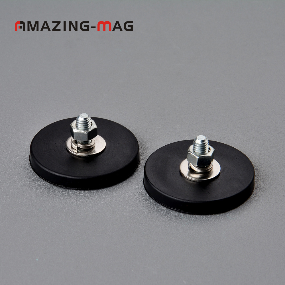 2PC 9KG Neodymium Anti-scratch Magnet Disc With Rubber Costed D43*6mm M6 Male Thread LED Light Camera Mounting Base Magnetic Pot ключ king tony 1707sr