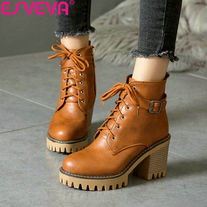 ESVEVA 2019 Women Shoes Zipper Synthetic PU Square High Heels Winter Shoes Ankle Boots Woman Round Toe Work & Safety Boots 34 43