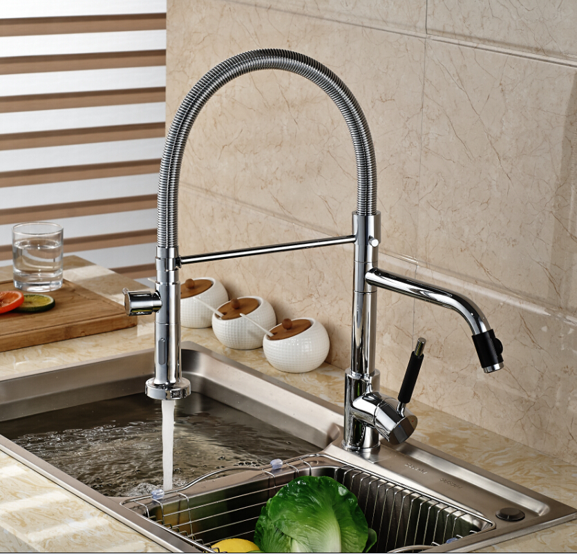 Chrome Kitchen Two Spouts Single Handle Sink Faucet Deck Mount Hot&Cold Water Mixer Tap best 3 pieces chrome waterfall spout two hot cold handle hose deck mount 55d bathtub torneira tap mixer faucet