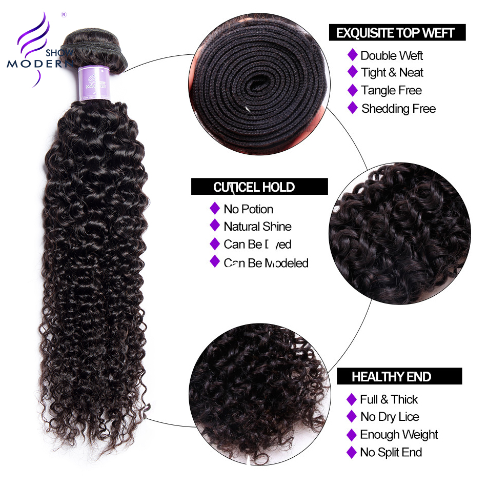 Modern Show Kinky Curly 4 Bundles With Lace Closure Brazilian Hair Weave Non Remy Hair Extension Human Hair Bundles With Closure