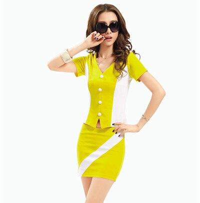 2015 бесплатная доставка summr стиль желтый v-образным вырезом хлопок мини-юбки костюм простые черные женщины работают носит