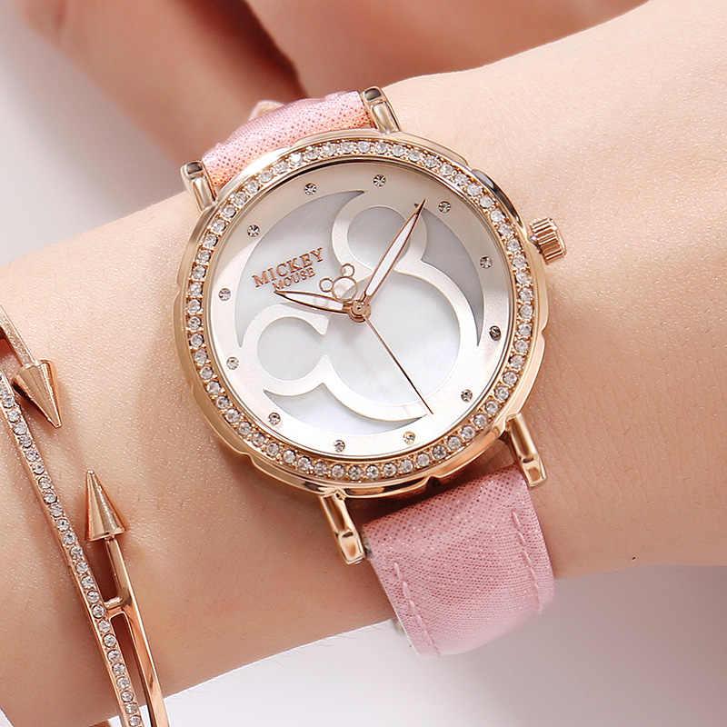 2018 אמיתי דיסני נשים של מיקי אישיות עגול פשוט אופנה פופולרי יוקרה באיכות גבוהה מחט עור רצועה שעונים חדש