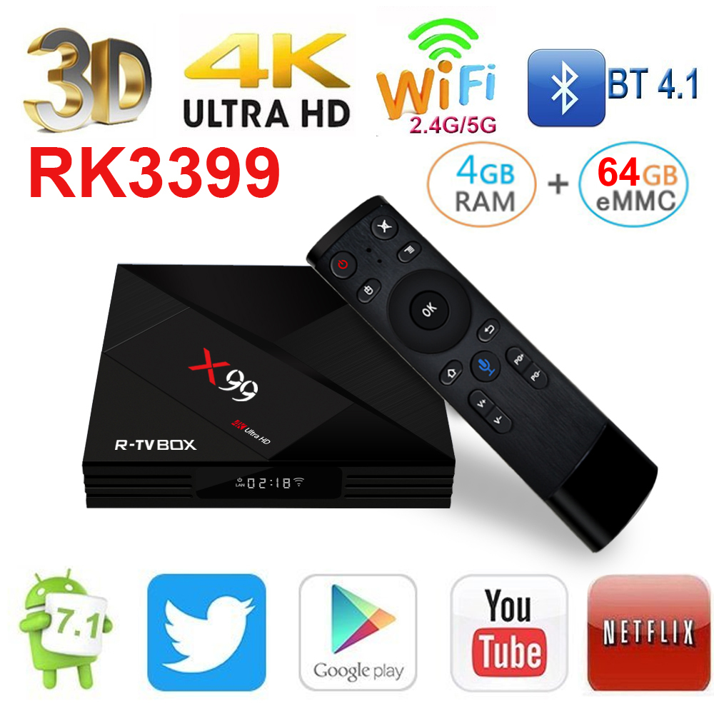 R ТВ коробка X99 Android ТВ коробка RK3399 6 core 4 ГБ ОЗУ 64 ГБ Rom Android 7,1 Bluetooth 2,4 г/5 г Двойной Wi Fi 4 К 3D 1000 м Lan телеприставки