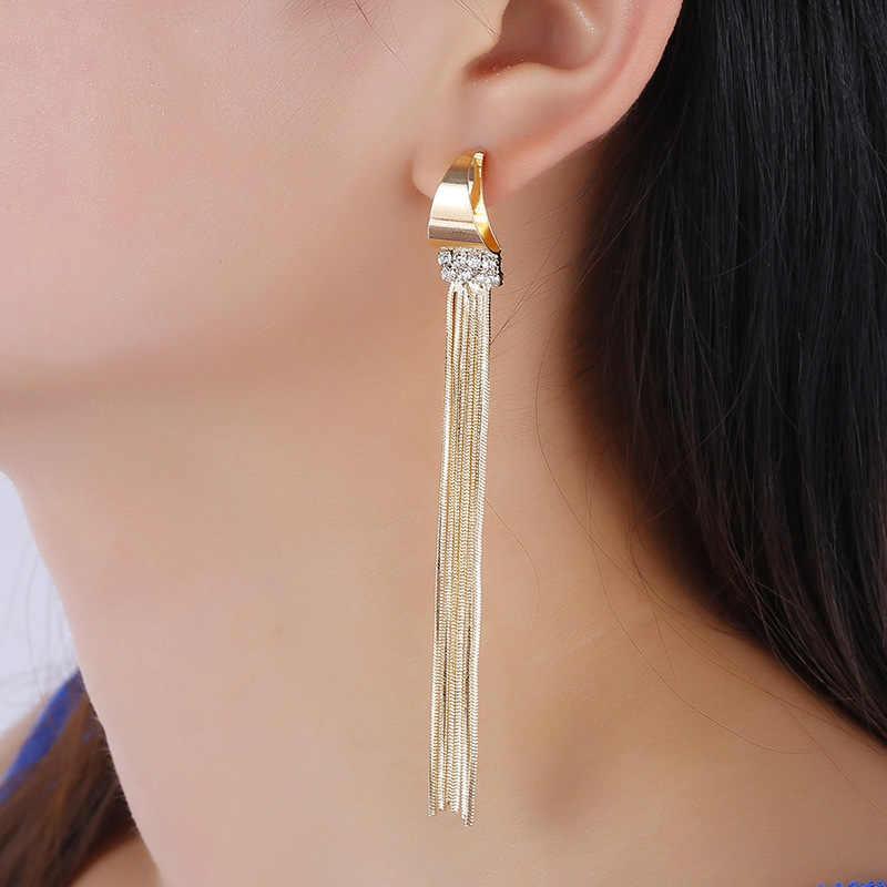 ยอดนิยม 1 คู่โลหะยาว Geometric Golden ต่างหูสำหรับงานแต่งงานริมทะเลสง่างามพู่ต่างหูคริสตัลใหม่