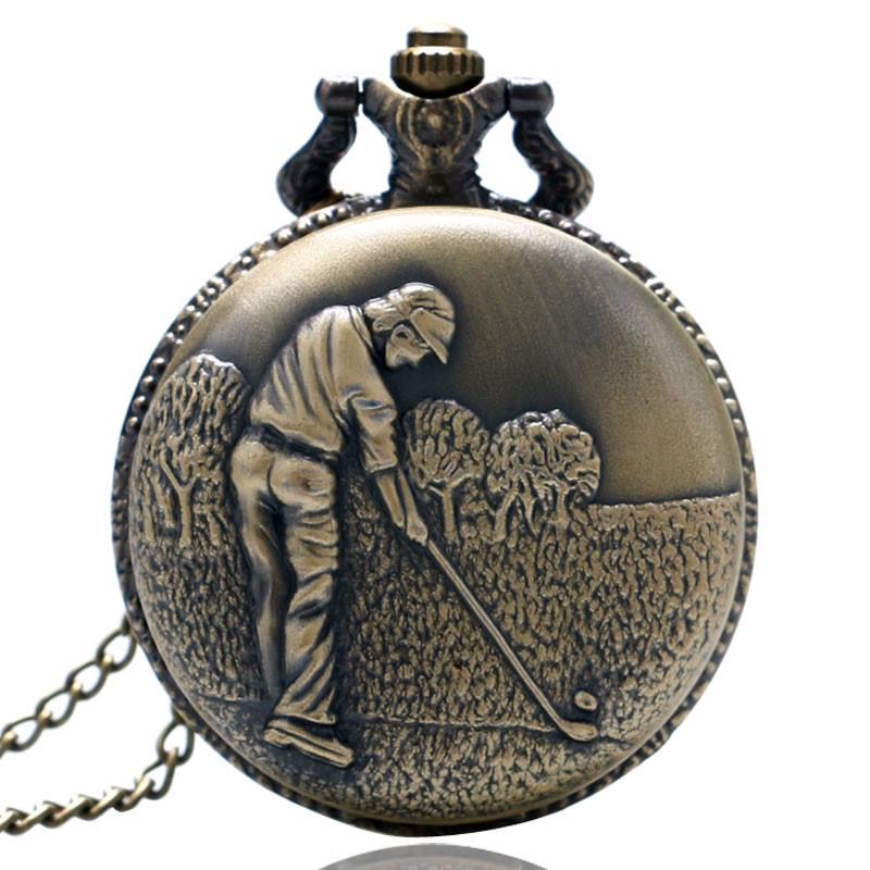 Retro Bronze 3D Golfing Theme Quartz Fob Pocket Watch With Necklace Chain Best Gift For Pocket Watch To Golfer Men With Necklace