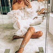 SRDP Lantern Long Elastic Sleeve Off Shoulder Sexy White Blouse Shirt Women Transparent Mesh Summer Ruffle Backless Top Blusa недорого