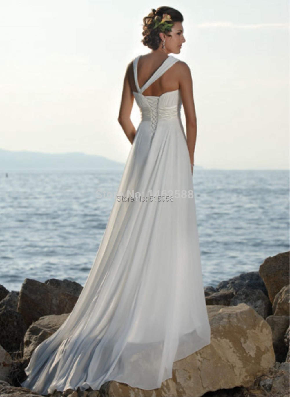 Pleated Sweetheart White Chiffon Country Western Wedding Dresses ...