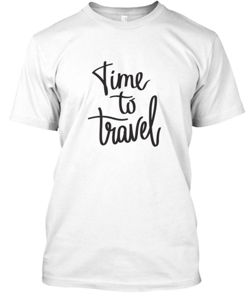 Time To Travel T Shirts for Men Fittness Cotton Shirt Funny Pattern Men Clothing