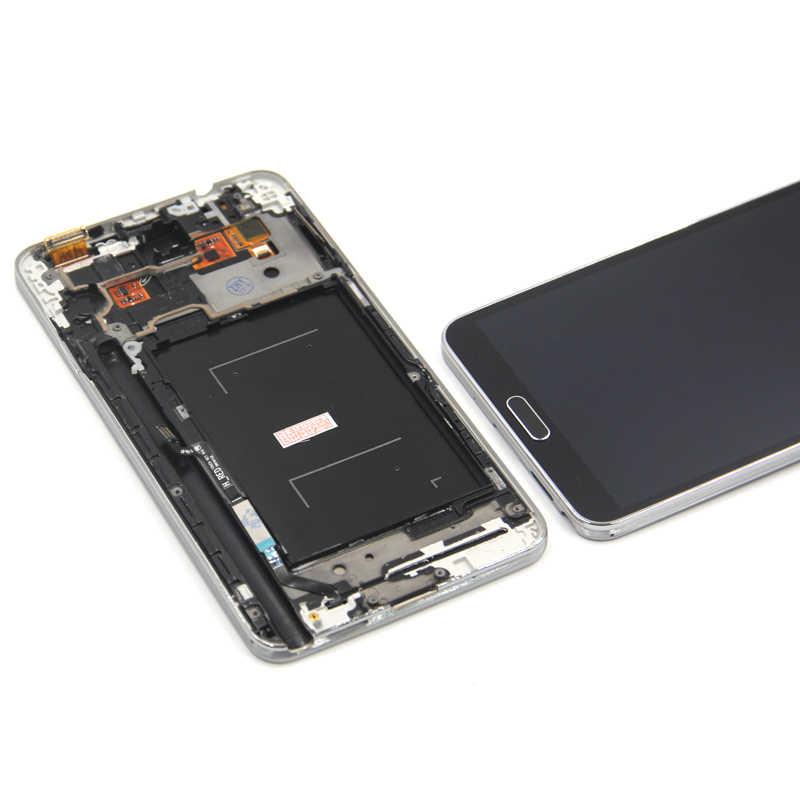 N9005 شاشة لسامسونج غالاكسي ملاحظة 3 N9005 شاشة إل سي دي باللمس محول الأرقام الاستشعار زجاج الجمعية مع الإطار ل غالاكسي Note3 LCD