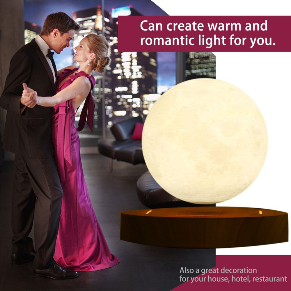 2018 Brand New! 10cm 3D Magnetic Levitating Floating Moon Lamp with Wooden Base Romantic Night Lamp Home Decoration Novelty Gift 3d levitation moon lamp magnetic floating led night light levitating toy gift wireless power supply creative home night lamp