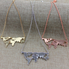2015 free shipping Exaggerated personality world map combination pendant necklace