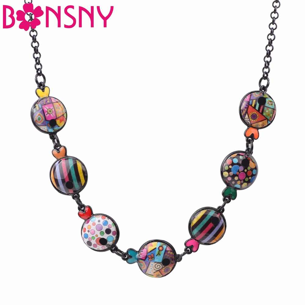 Bonsny Statement Maxi Metal Enamel Round Fish Choker Necklace Pendant Chain Collar 2017 New Ocean Animal Jewelry For Women Girl