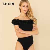 SHEIN Black Flower Applique Off Shoulder Sexy Bodysuit Women Short Sleeve Skinny Rompers 2018 Summer New