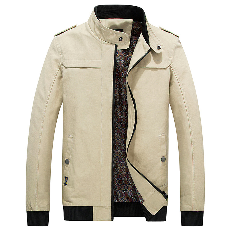 2018 Autumn Mens Casual Jacket 100% Cotton High Quality Male Khaki Windbreakers Fashion Solid Khaki Jackets and Coats for Men
