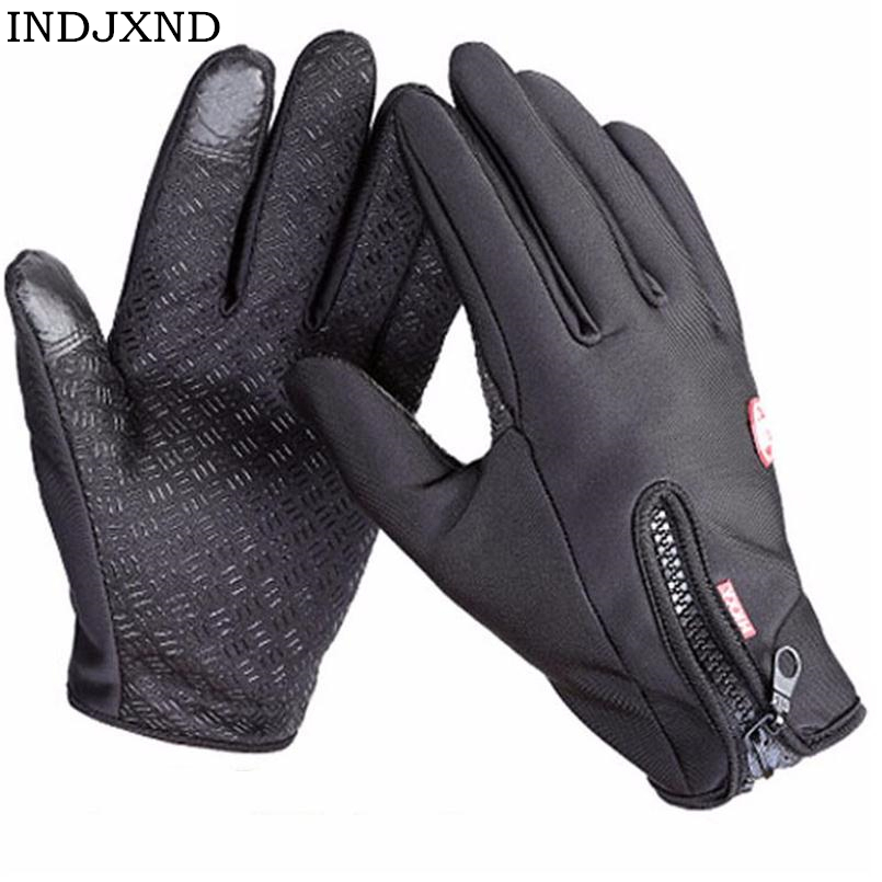 INDJXND Brand Women Men Women Ski Gloves Snowboard Gloves Motorcycle Riding Winter Touched Screen Snow Windstoppers Glove