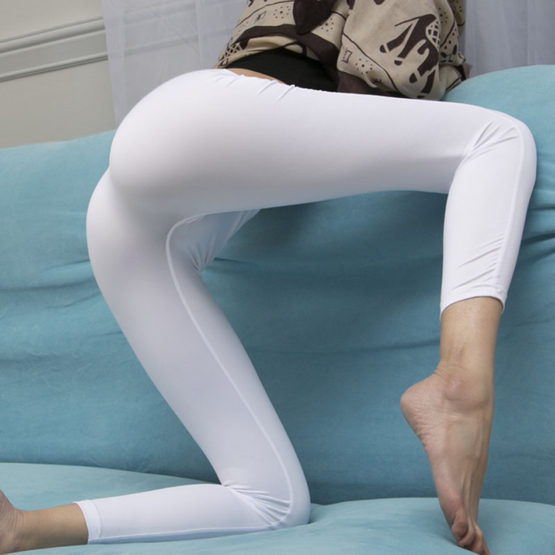 Sexy Ice Silk Glossy Silky Smooth Transparent One Piece Rear Alete Seamless White Bottom Legging Ankle Lenth   Pants   Erotic   Capris