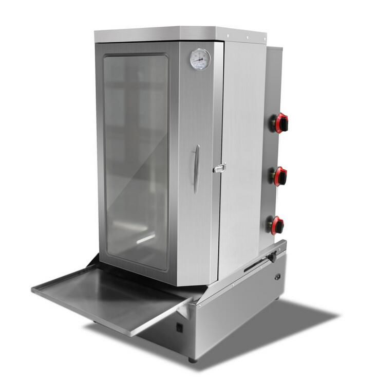 Commercial rotation lpg gas doner kebab machine 3 burners gas gyros shawarma machine gas vertical rotisserie broiler with door