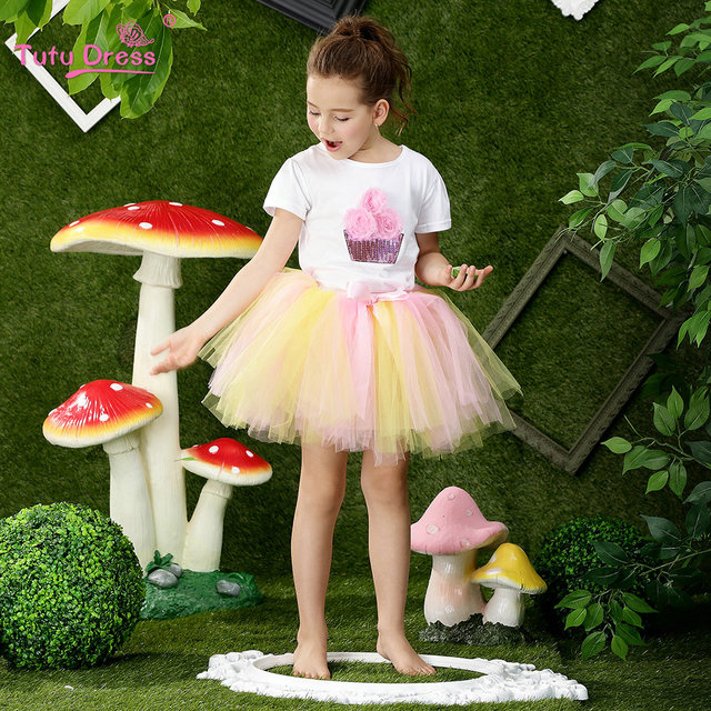 dabd9c68e67 2018 New Arrive Summer Girls Cute White T-shirt + Tutu Skirt 2 Pcs set For  2 3 4 5 6 7 8 9 10 11 12 Years Children Clothing Set