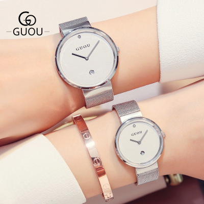2018 New GUOU Watches Men Women Luxury Brand Fashion Quartz Watch All Stainless Steel Mesh Band Wrist Watch For Couple watches luxury brand nary watch for women man quartz wrist watches stainless steel fine couple lovers casual watches relogio 1 pcs