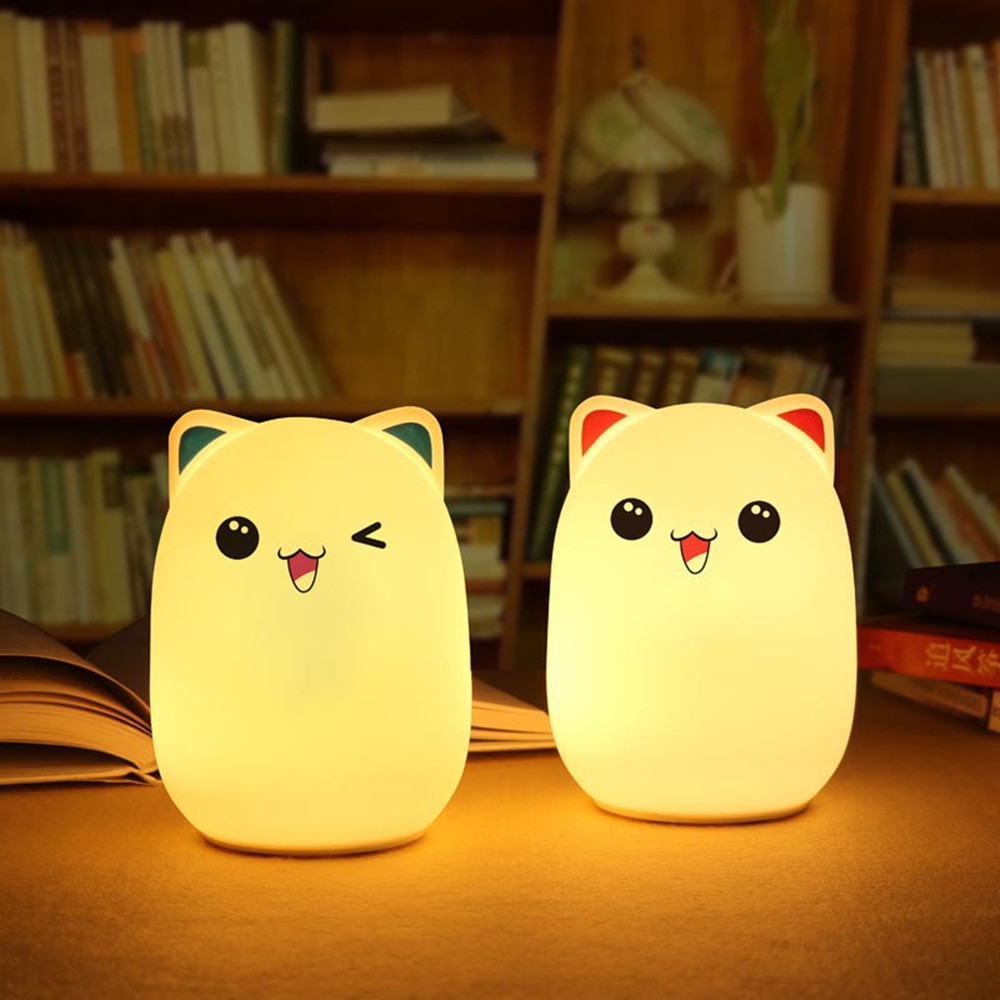SuperNight Cartoon Bear LED Night Light Rechargeable Remote Control Touch Sensor Colorful Silicone Kids Baby Bedroom Table Lamp недорого