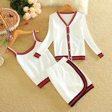 2017 Spring Women Long-sleeved Jacket with Camis and Skirt 3pcs Set Striped Knitted V-neck Casual Women Sets 3color LY637