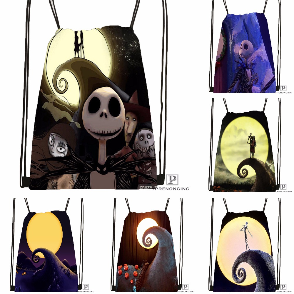 Custom The Nightmare Before Christmas Drawstring Backpack Bag Cute Daypack Kids Satchel (Black Back) 31x40cm#180531-03-48