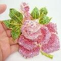 """5 """" святой роза зеленый розовый бутон листьев кристалл брошь розовый горный хрусталь цветок"""
