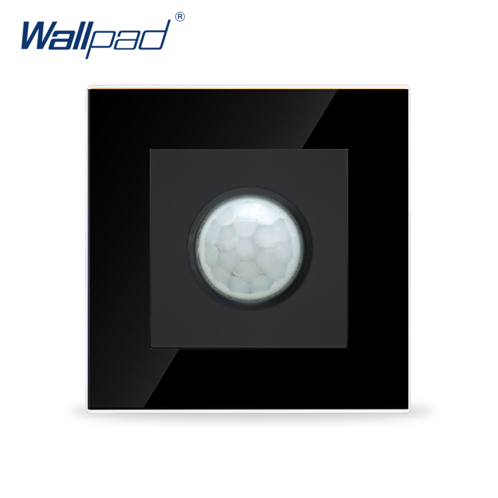 цена на Hot Sales Wallpad Luxury Black Tempered Glass Panel 86*86mm 110V-250V UK EU Human Sensor IR Corrior Stair Light Switch