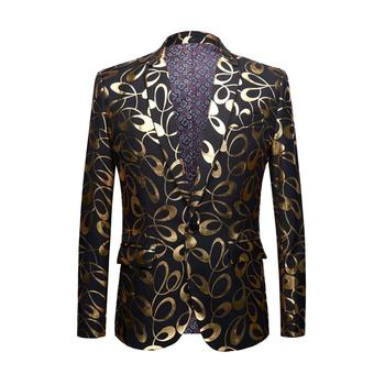 2019 new casual menswear spring outerwear gold fabric slim trendy suit outerwear holiday party business men's wear