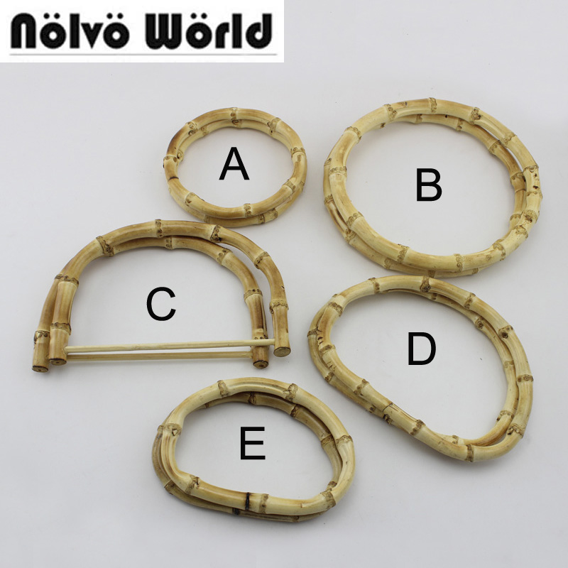 10 Pairs=20 Pieces,wholesale 5 Styles Nature Bamboo Handles For Crochet Handbags Bags,real Bamboo Purse Handle Raw Material