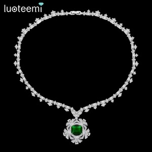 Image 1 - LUOTEEMI New Big Flower Pendant Necklace for Women for Wedding Party Luxury CZ Jewelry Red and Green Collar Mujer Christmas Gift