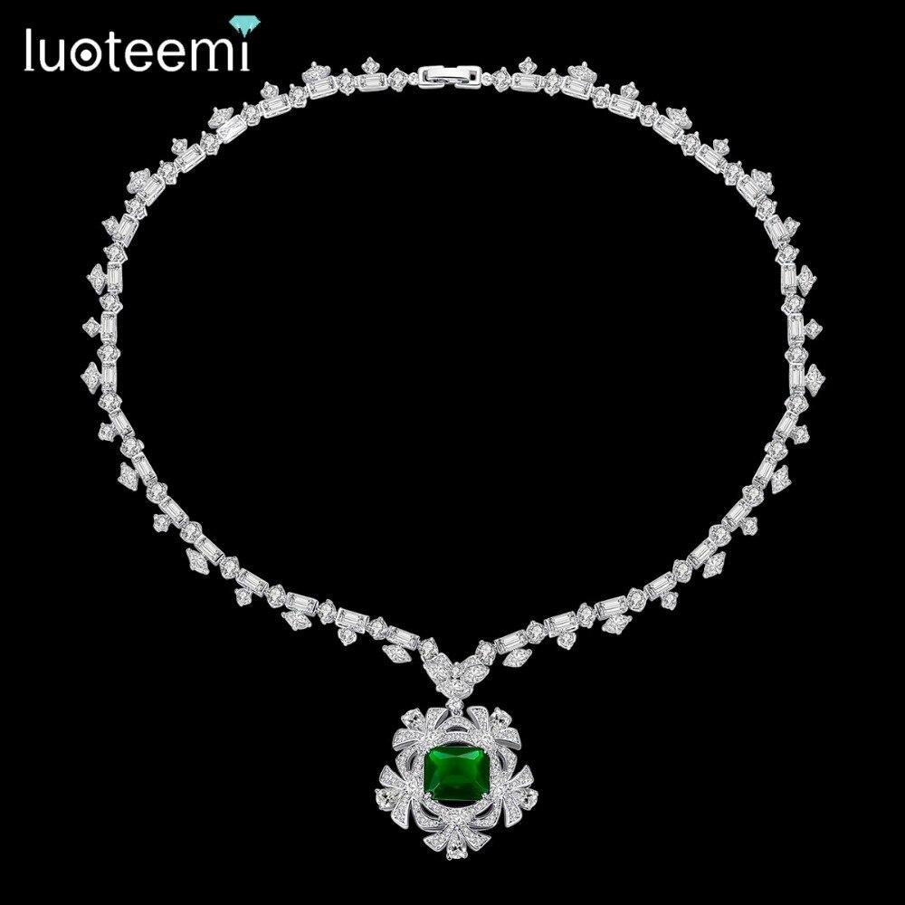 LUOTEEMI nouveau grand collier pendentif fleur pour les femmes pour la fête de mariage de luxe bijoux CZ collier rouge et vert Mujer cadeau de noël