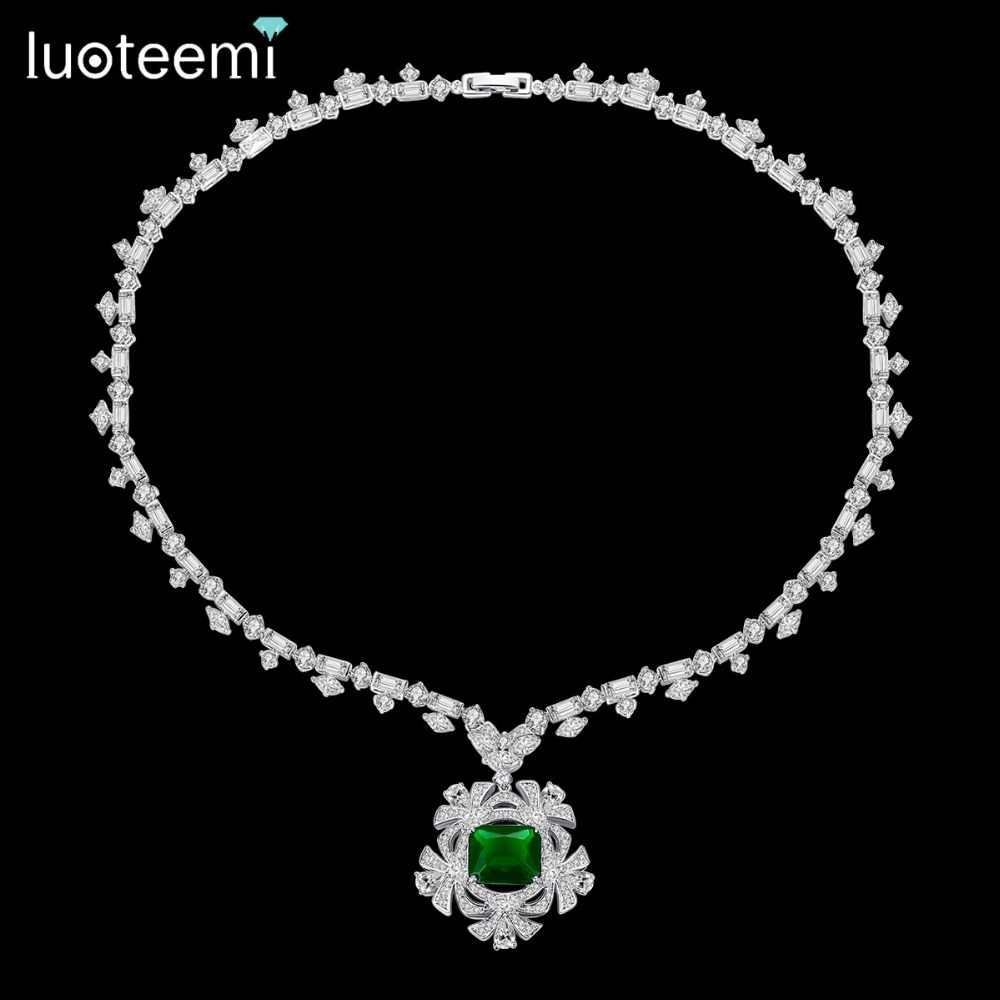 LUOTEEMI nowy duży wisiorek kwiat naszyjnik dla kobiet na wesele luksusowe CZ biżuteria czerwony i zielony kołnierz Mujer prezent na boże narodzenie
