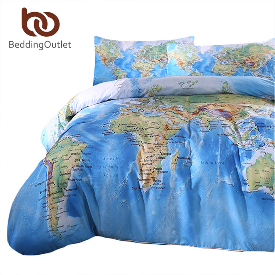 BeddingOutlet 3 Pieces World Map Bedding Set Vivid Printed Blue Quilt Cover Set Super Soft Duvet Cover with Case Case For Gift