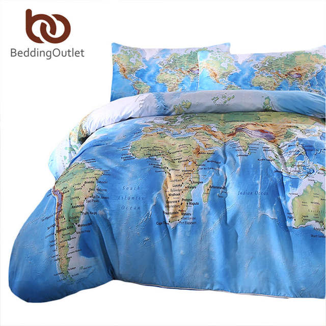 Beddingoutlet 3 pieces world map bedding set vivid printed blue beddingoutlet 3 pieces world map bedding set vivid printed blue quilt cover set super soft duvet gumiabroncs Choice Image