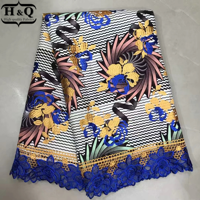 High Quality 2019 Wax Lace Design African Wax Lace Wax Prints Fabric With Cord Lace 6