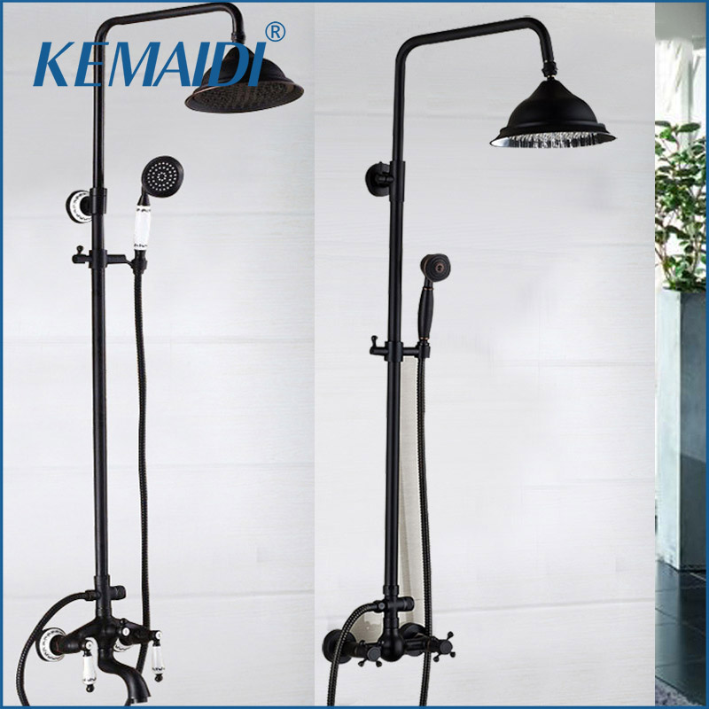 KEMAIDI New Arrival Bathroom Black Shower Set Wall Mounted 8 Rainfall Shower Mixer Tap Faucet 3-functions Mixer Valve free shipping polished chrome finish new wall mounted waterfall bathroom bathtub handheld shower tap mixer faucet yt 5333