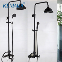 OUBONI New Arrival Bathroom Black Shower Set Wall Mounted 8 Rainfall Shower Mixer Tap Faucet 3