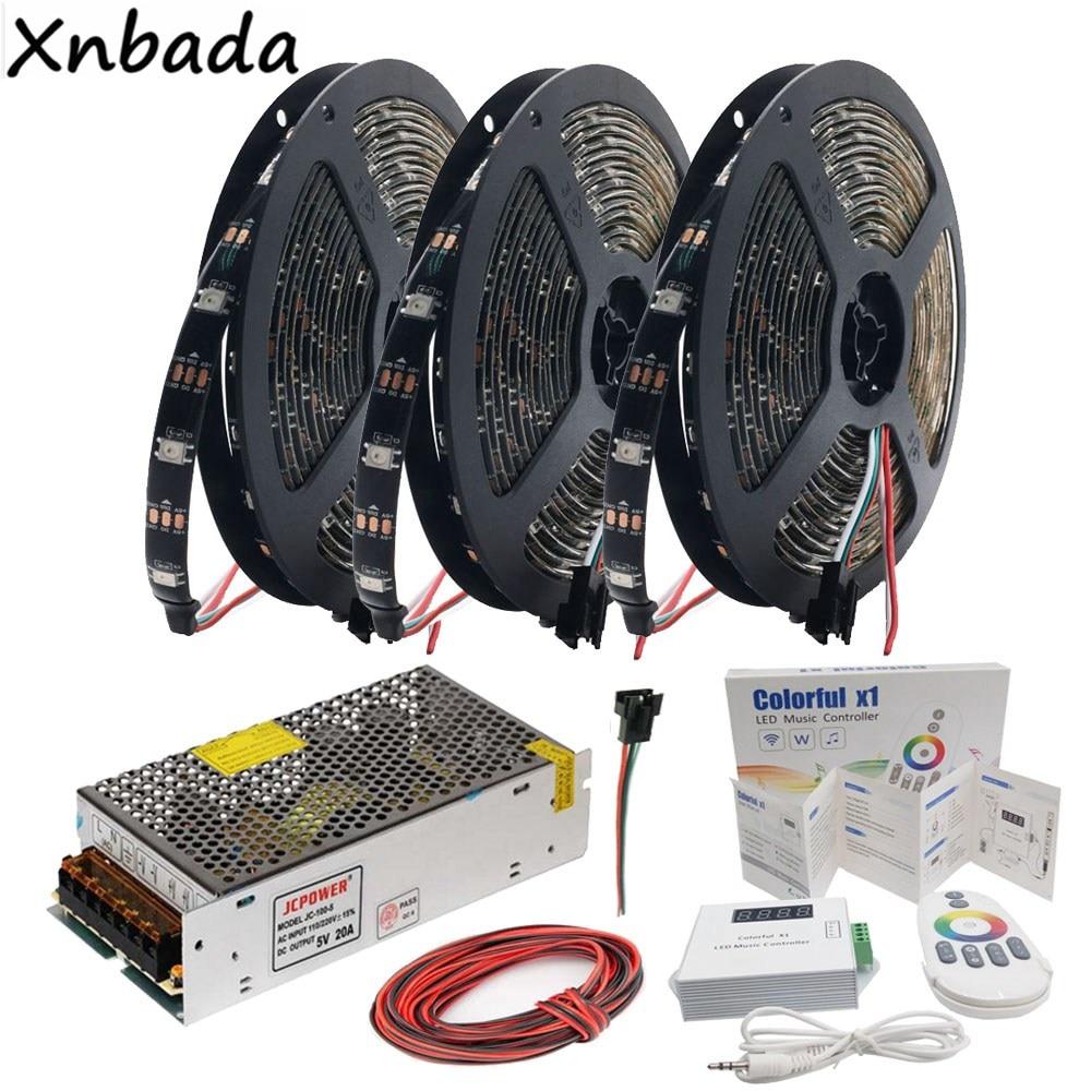 Ws2812b Ws2812 Rgb Led Strip Light Colorfulx1 Rgb Led Music Controller Dc5v Led Transformer Kit 5m 10m 15m 20m 30leds/m 60leds/m Lights & Lighting