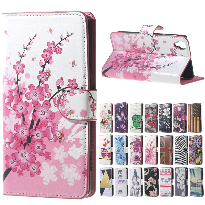 Plum Pattern Leather Wallet Flip Stand 2 Card Slot stand Cover Case For <font><b>Alcatel</b></font> One Touch Idol 3 4.7 inch Mobile <font><b>Phone</b></font> Case Bag