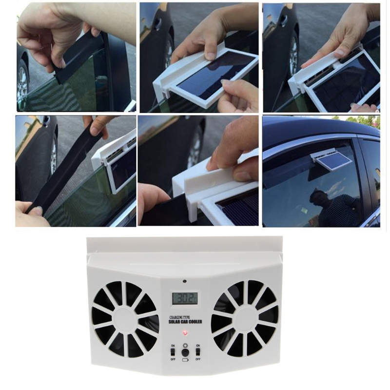 Folding Solar Powered Auto Car Window Air Vent Cooling Dual Fan Cooler Ventilation System Mini Air Conditioner Tools solar powered magic autonomous mini car toy