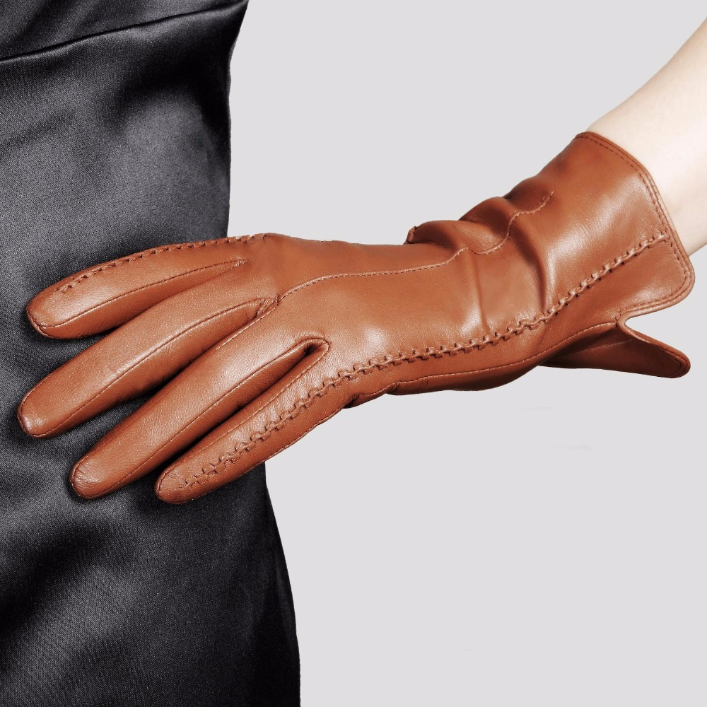 High Quality Elegant Women Genuine Leather Gloves Thin Silk Lining Goatskin Driving Gloves Hot Trend Female Glove L085NN