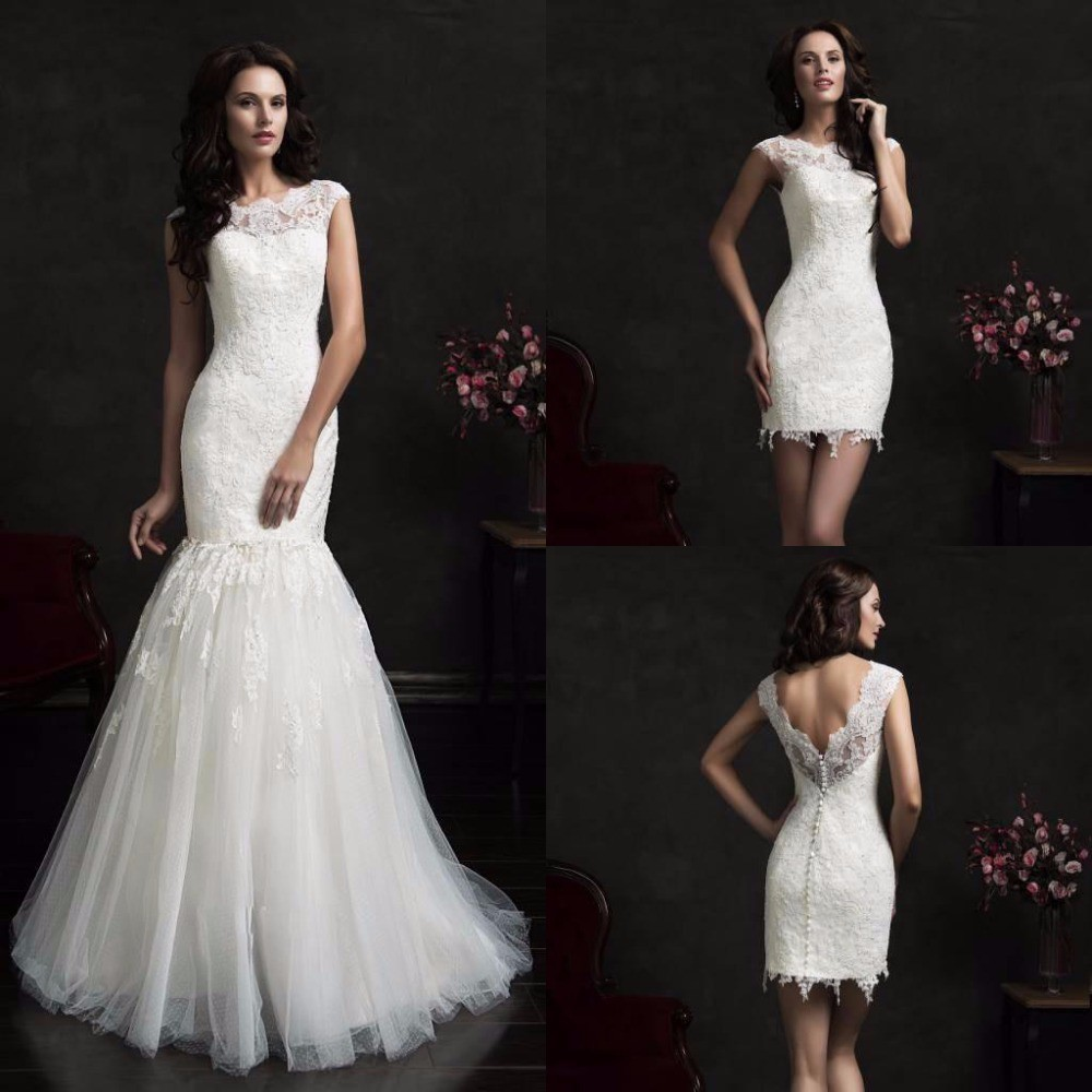 On411 long mermaid wedding dresses sheer sexy open back detachable on411 long mermaid wedding dresses sheer sexy open back detachable skirt cheap white romantic formal wedding bridal gown dress in wedding dresses from ombrellifo Choice Image