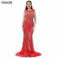 New Arrival Long Red Evening Dresses 2018 Mermaid Scoop Sleeveless Beaded Crystal Tulle Prom Evening Gown Vestido De Festa