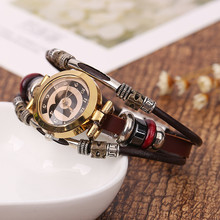 цены Brand Fashion Vintage Cow Leather Bracelet Watches Casual Women Crystal Quartz Watch Relogio Feminino NEW2019