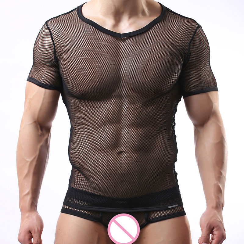 Sexy Mesh Men Underwear Sets Men's Undershirt And Underwear Briefs Mens Mesh Undershirt Tee Shirt Gay Slim Male Tops Breathable