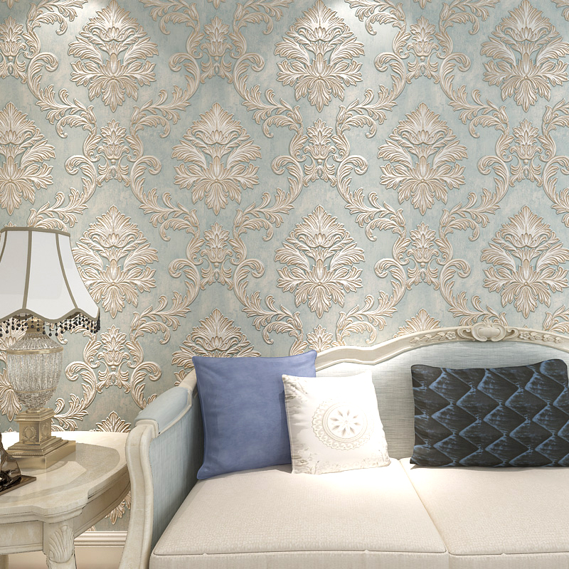 European Style 3D Stereo Damask Flocking Non-woven Wallpaper For Bedroom Living Room Modern Simple Decor 5.3 Sqm Wall Paper Roll